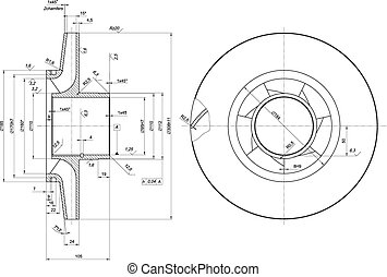 Engineering sketch of wheel with span - Expanded wheel...