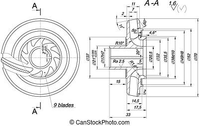Engineering sketch of wheel with span and radical - Expanded...
