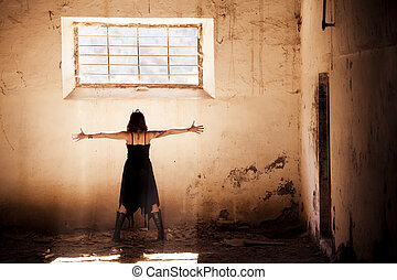 Arms raised gothic girl - Arms raised young beautiful gothic...