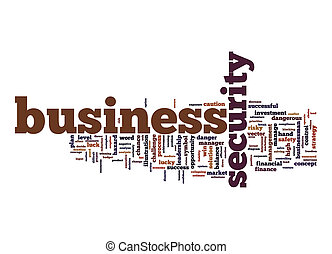 Business security word cloud with white background
