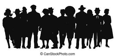 large crowd of people in silhouette