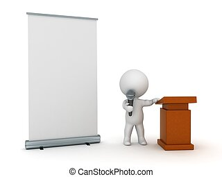 3D Character Public Speaker - A 3D character with a...