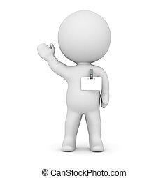 3D Character Wearing Name Badge - A 3D character wearing a...