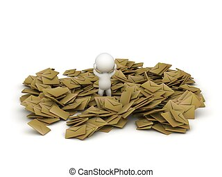3D Character Covered in e-mails - A 3D character covered in...