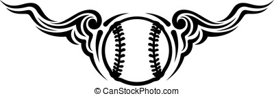 Baseball or Softball Wing Flourish Design - Black and white...