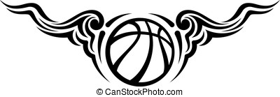 Basketball Wing Flourish Design - Black and white design of...