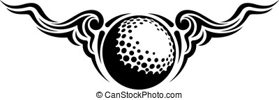 Golf Ball Wing Flourish Design