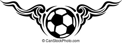 Soccer Ball or Football Wing Flourish Design