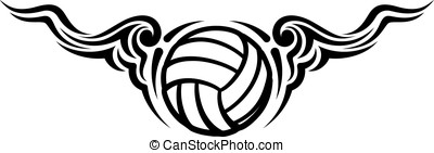 Volleyball Wing Flourish Design - Black and white design of...