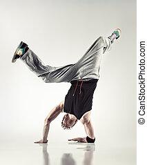 jovem, homem, modernos, dança