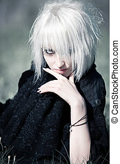 Goth woman portrait - Goth woman with white hair outdoors...