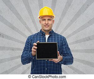 smiling male builder in helmet with tablet pc - repair,...