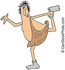Caveman doing a stretch - This illustration depicts a...