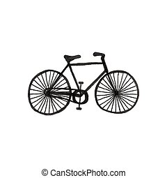 Bycicle. Doodle bike on the white background. Sport,...