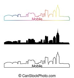 Mobile skyline linear style with rainbow in editable vector...