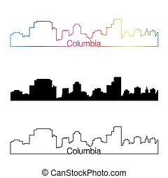 Columbia skyline linear style with rainbow in editable...