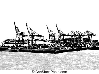 Harbor Cranes - Silhouettes of harbor cranes isolated on...