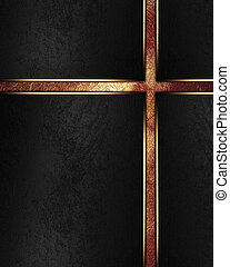 Element for design. Template for design. Abstract black background with golden lines