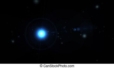 flight through space near bright star, warp speed and lens flare background