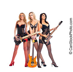 Female rock band of three young sexy girls