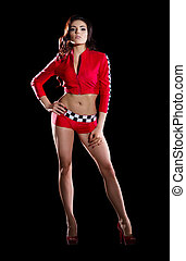 racer girl in red costume