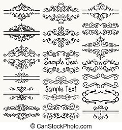 Vector Black Hand Drawn Dividers, Frames, Swirls - Set of...