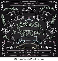 Vector Chalk Drawing Floral Design Elements, Ribbons - Hand...