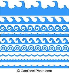 Sea Waves Set Isolated on White Background.