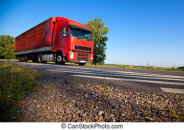 Truck cargo transportation Wide angle view