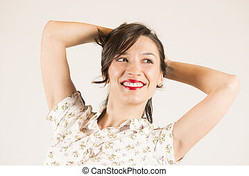 Feeling happy and relaxed - Expressive portrait of a...