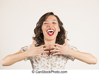 Surprised and happy young woman - Expressive portrait of a...
