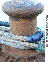 Anchor Rope. - Closeup of a ship anchor rope in port.