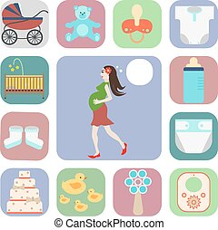 set of icons, pregnant