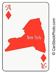 USA Playing Card Ace Diamonds - Outline map of New York and...