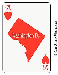 USA Playing Card Ace Hearts - Outline map of Washington DC...