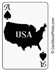 USA Playing Card Ace Spades - Outline map of the United...