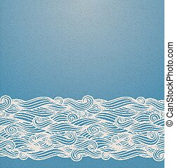 Blue waves ornament - Vector ornate background with...