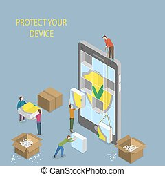 Mobile Device Protection Concept Illustration.