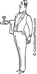 Butler - Snobbish English butler of a waiter with a glass on...