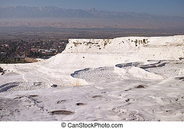 Pamukkale - Terraces of Pamukkale, a natural mineral spring...