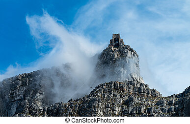Table Mountain cable car station with dramatic clouds
