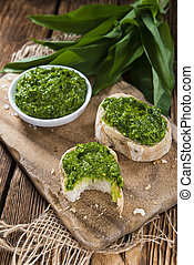 Portion of Ramson Pesto - Portion of fresh homemade Ramson...