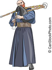Vector. Bagpiper. - Bagpiper with bagpipes in traditional...