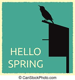 Starling and its home - Card with detailed silhouette of...