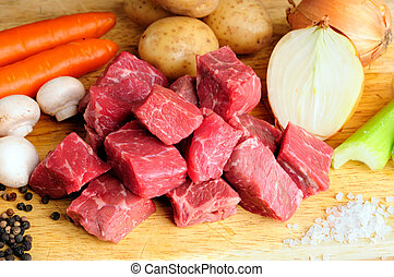Meat And Vegetables - Raw Ingredients For A Traditional Beef...
