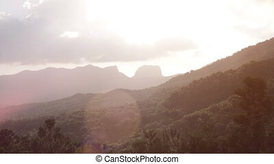 landscape with mountains mauritius - Beautiful scenery of...