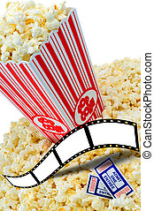 Popcorn - Large Cinema Popcorn Container Overflowing And...