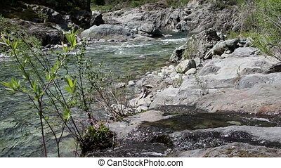 North Fork American River Creek Feeding In Foreground Near...