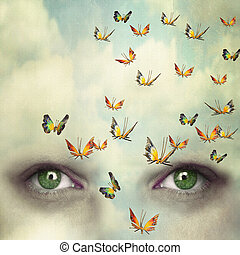 Mind flying - Two eyes with the sky and so many butterflies...