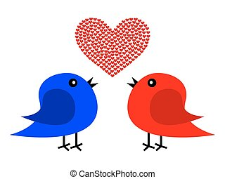 Two birds and heart
